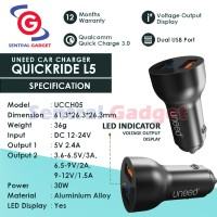 Car Charger UNEED Qualcomm Quick Charge 3.0 – QUICKRIDE L5 With LED