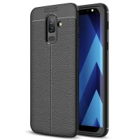 Leather Hard Soft Case Samsung A6+ Plus Casing HP Kulit Silikon Armor