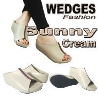 Harga wg06 sunny cream sandal wedges pesta wanita casual sendal | antitipu.com