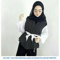 Blouse Hijabers Lengan Panjang Hitam Polkadot Obi Putih Gaya Selebgram
