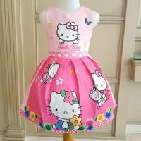 Baju Anak Dress Gaun Baju Hello Kitty Two Tone Warna Pink 3-8 Tahun