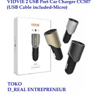 VIDVIE 2 USB Port Car Charger Mobil CC507 ( USB Cable included Micro )