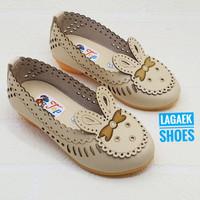 Sepatu anak 1 2 3 4 5 6 TAHUN motif kelinci krem model mini heels MHK
