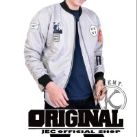 PILOT - JACKET ORIGINAL BOMBER BOY LONDON WHITE GREY - FREE EMBLEM