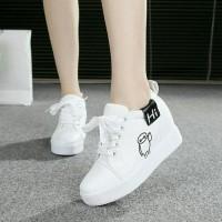 Sepatu Wedges Sneaker Wanita Hi Boots Putih Ada Wedges Di Dalam