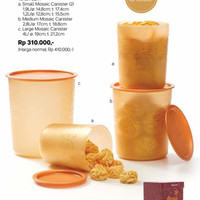 Mosaic Canister Set (4) Gold Toples Tupperware
