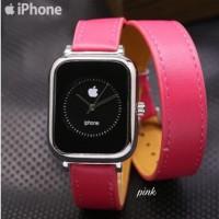 Jam Tangan Pria Wanita Apple Iphone Leather Tali Gelang Ring Silver //