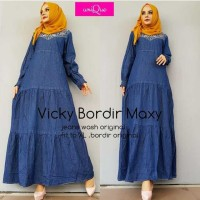 Jual VICKY BORDIR DARK MAXY Jeans Washed GROSIR MAXI DRESS LONGDRESS MURAH Murah