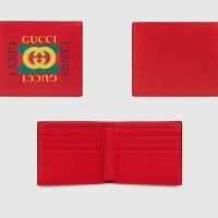 GUCCI LOGO PRINT RED HIBISCUS BI-FOLD WALLET ORIGINAL   DOMPET GUCCI