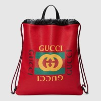 GUCCI LOGO PRINT HISBISCUS RED LEATHER DRAWSTRING BACKPACK ORIGINAL