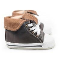 Hello Mici Sepatu Bayi Prewalker Shoes Hitop Sneakers Brown - size 4
