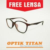 Harga frame kacamata minus baca pria wanita cat eye 8191 coklat | antitipu.com