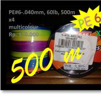 Senar Benang Pancing PE6 Multicolour-Murah Bagus X4 0.40mm-60lb-500m