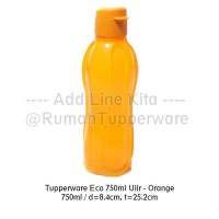 Tupperware Eco Bottle 750ml Orange - Tutup Flip