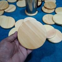 Tatakan Gelas Bulat / Alas Gelas Bahan Kayu Pinus / Coaster Set