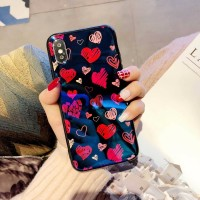 Casing hp Oppo F7 Vivo V9 Iphone RED HEART Hologram Light Blue Case F5