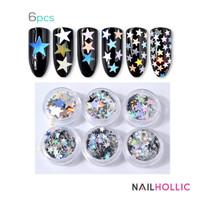 6 pcs nail art star decoration / aksesoris kuku
