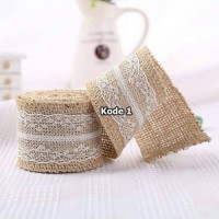Jual Pita Burlap 2 Meter Renda Lace Vintage Decor Kain Goni Craft Import Murah