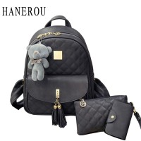 0ea5a7904f7 3 Pcs Bear Backpack Women Bag Diamond Lattice School Bags For Girls Ba