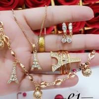 Kalung Set Cincin Gelang Paris Fashion Wanita Xuping Emas