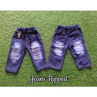 Celana Jeans Panjang Ripped Anak Laki Perempuan Sobek Biru Tua ONWKIDZ