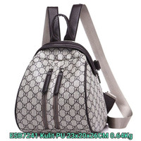 ESB7241 Tas Batam Import Ransel Wanita Motif Merk Buncit Double Zipper