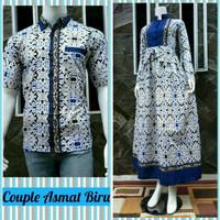 Fashion Batik Wanita Couple Gamis Modern Asmat Biru