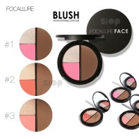 FOCALLURE 3 Colors Highlighters Blusher Contour Waterproof