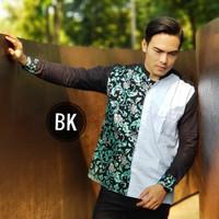 KM Asik Baju Koko Modern Kombinasi Batik Kemeja Pria Lengan Panjang