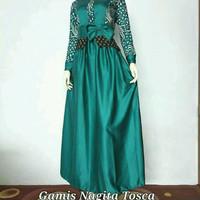 Baju Wanita Dress Gamis Batik Modern Busui Kombinasi Nagita Tosca