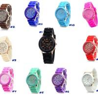 Jam Tangan Silicone Jelly Quartz Wrist Watch Silikon Jely Geneva Rubber Karet