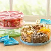 Tempat Toples Kue Snack Permen 5 Sekat Tutup Kedap Udara