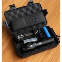 Paket Senter LED Tactical CREE XM-L2 8000 Lmn dgn Batere 18650+Charger