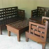 kursi sofa tamu kepang minimalis kayu jati set ruang tamu