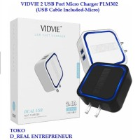 VIDVIE Travel Adapter Charger PLM302 2 USB Port Cable Included Micro
