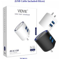 VIDVIE Travel Adapter Charger PLM301 2 USB Port Cable Included Micro