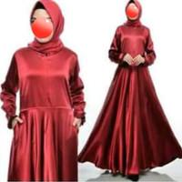 Baju gamis wanita polos bahan satin velvet