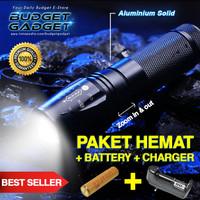 PAKET HEMAT Senter LED Cree XM-L T6 5000 Lumens + BATTERY + CHARGER