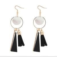 Aksesoris Wanita Anting Telinga Round Black Tassel Fashion - BER002