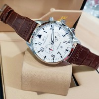 JAM IWC LEATHER BROWN WITH WHITE DIAL 4.4CM SUPER CLONE