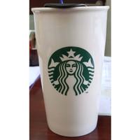 Starbucks Green Siren Icon Double Wall DW Mug Ceramic Tall Tumbler