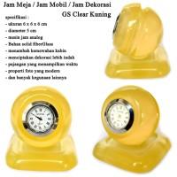 Jam Meja Dekorasi Fiber 3D Bulat Clear kuning