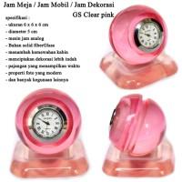 Jam Meja Dekorasi Fiber 3D Bulat Clear pink