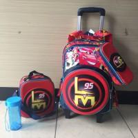 Harga tas troli ransel sekolah anak mcqueen cars merah 2 roda lampu | Pembandingharga.com
