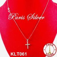 Kalung Salib Liontin Cassandra Silver 925 lapis emas putih wanita