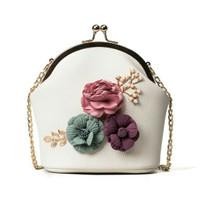 Tas Kondangan Dan Ke Pesta Motif Bunga Cantik Remaja Dan Dewasa White