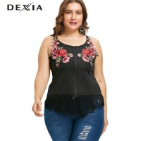 DEXIA Embroidery Rose Flower Sleeveless Tops Women Summer Black Tshirt
