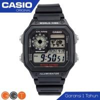 Casio illuminator AE-1200 Jam Tangan Pria Tali Karet / Rantai Digital