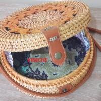 Tas Raisa Rotan ate diameter 20cm Bunga Rotan Natural insert Batik