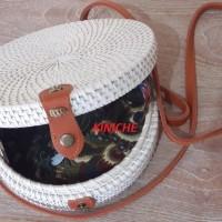 Tas Raisa Rotan ate diameter 20cm Putih polos insert Batik Murah